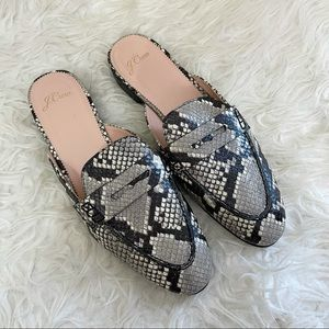 J. Crew Academy Penny Loafer Mules In Snake Embossed Leather size 9
